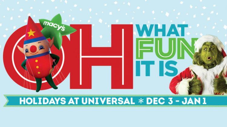 Celebrate Holidays at Universal Orlando Resort December 3, 2016- January 1, 2017